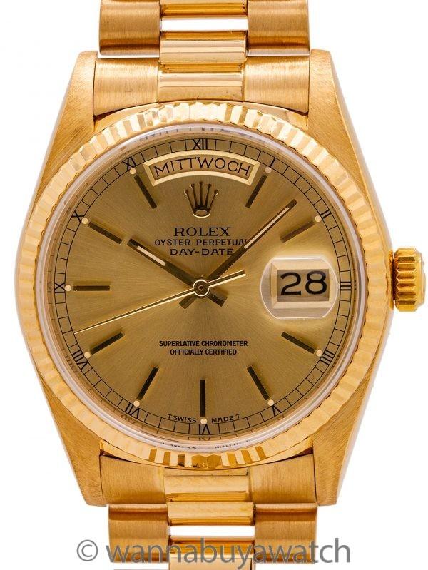 """Rolex Day Date ref 18038 18K YG circa 1987 """"Sprechen Sie Deutsch"""""""