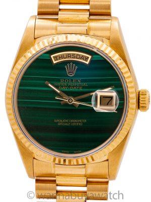 Rolex Day Date President 18K YG ref 18038 circa 1986 Custom Malachite Dial