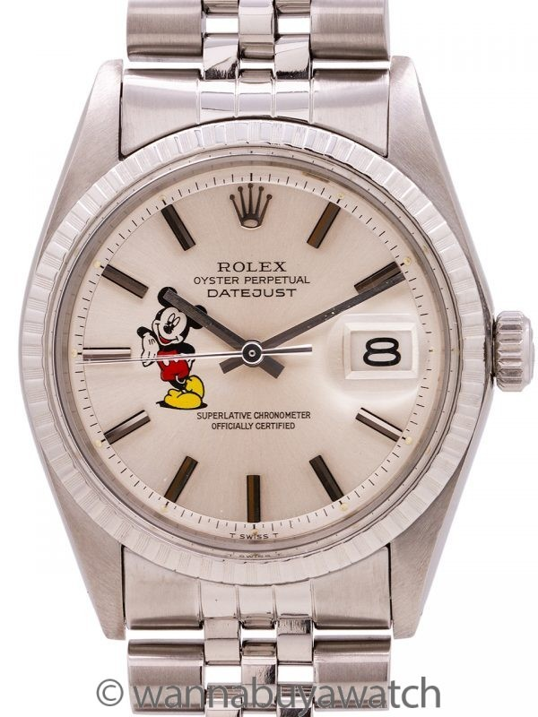 """Rolex Datejust ref# 1603 Stainless Steel """"Mickey Mouse"""" circa 1973"""