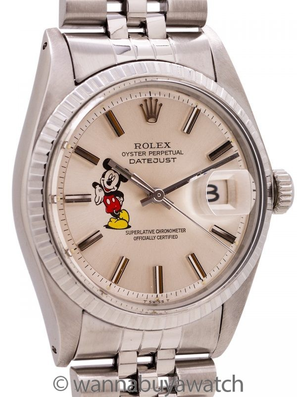 "Rolex Datejust ref# 1603 SS ""Mickey Mouse"" circa 1972"
