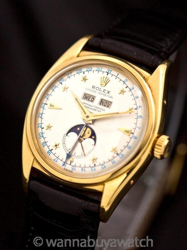 "Rolex ref 6062 Oyster Moonphase Star Dial ""Stelline"" 18K YG circa 1950's"