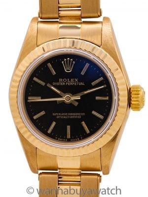 Lady Rolex 18K YG Oyster Perpetual ref 67198 circa 1989
