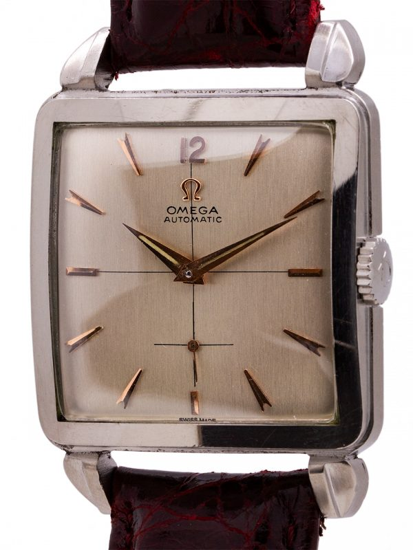 Omega Stainless Steel Square Automatic circa 1950