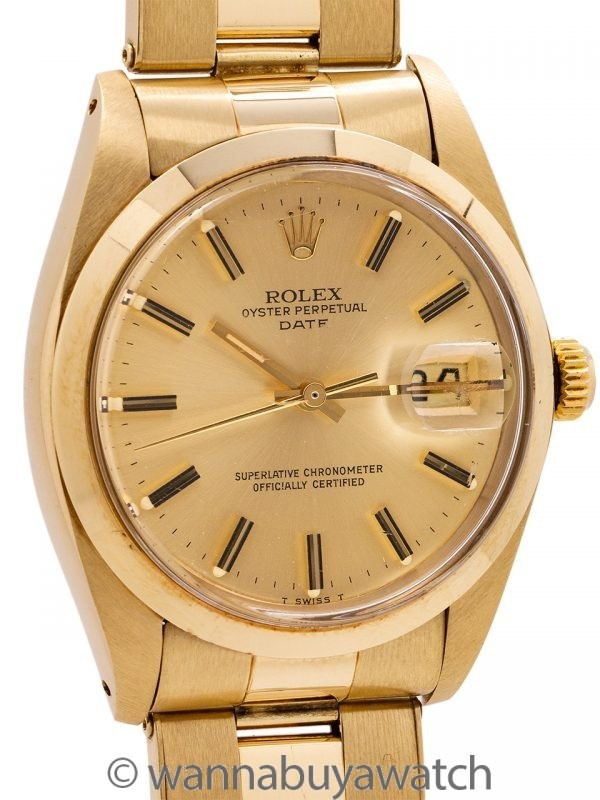 Rolex Oyster Perpetual Date ref 1503 14K YG circa 1979