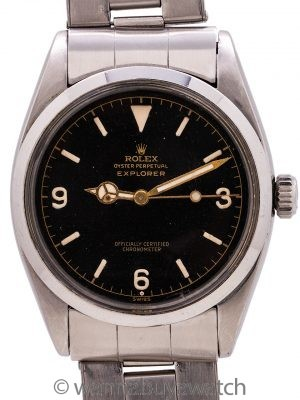 Rolex Explorer ref. 6610 Gilt Exclamation Point Dial circa 1958 w/ Original Papers