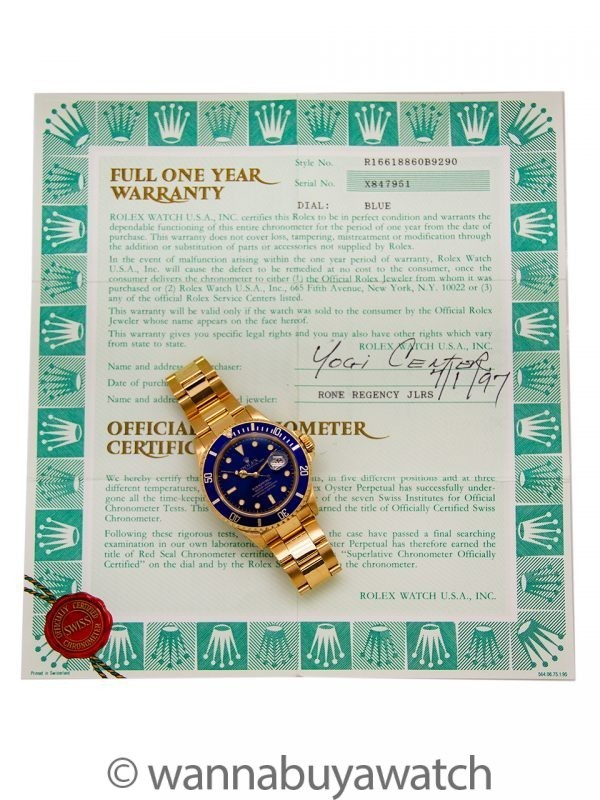 Rolex Submariner 18K YG ref 16818 w/ Box & Papers circa 1991