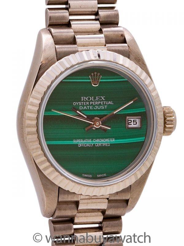 Lady Rolex President ref 79179 18K WG Custom Malachite circa 2001