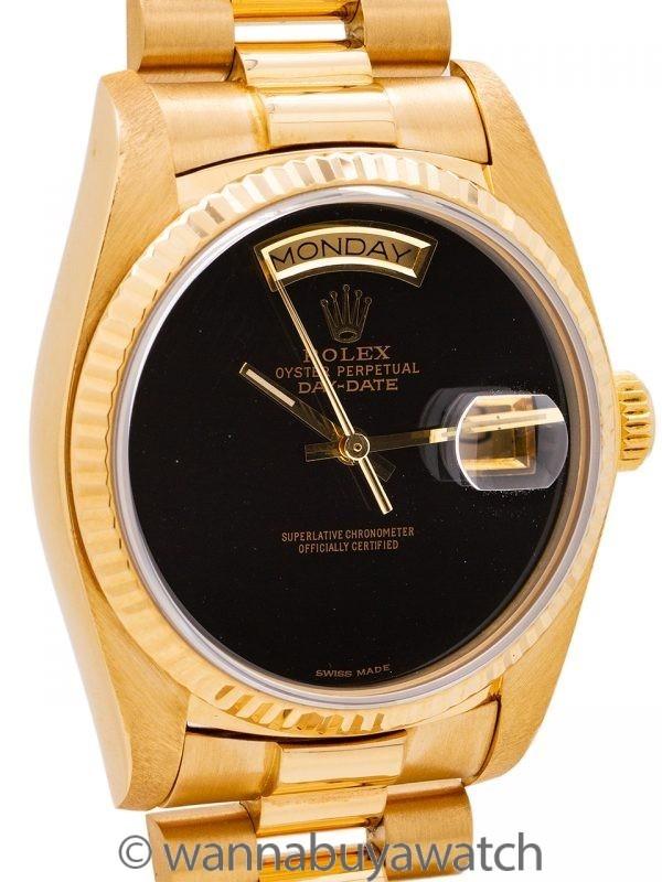 Rolex Day Date President 18K YG ref 18038 circa 1983 Custom Onyx Dial