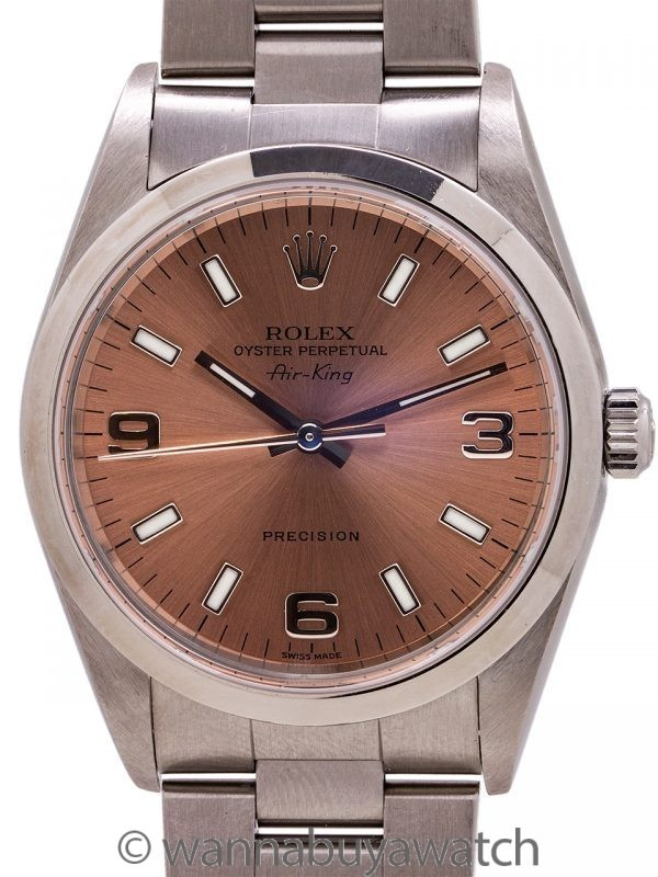 Rolex Airking ref 14000 Antique Rose Explorer Dial circa 2001