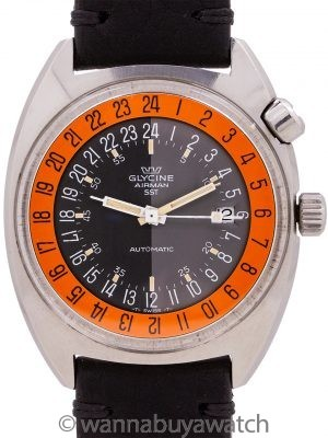 "Glycine Airman SST Automatic 24 Hour Vietnam Era aka ""Pumpkin"" circa 1969"