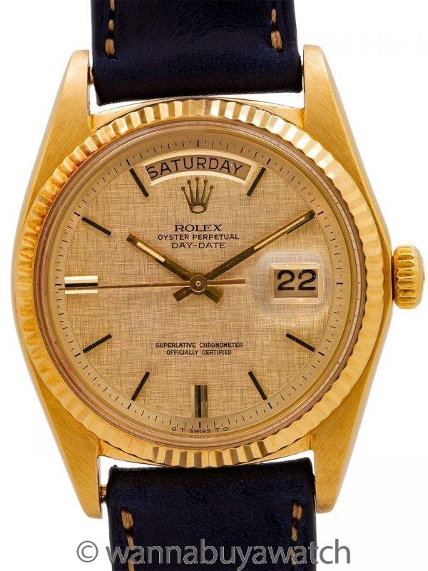 Rolex Day Date ref 1803 18K YG Linen Sigma Dial circa 1972