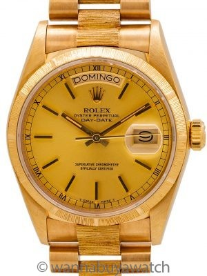 Rolex Day Date ref 18078 Bark Finish 18K YG circa 1984 with Papers