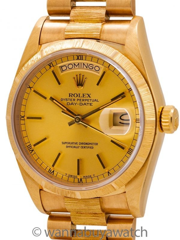 Rolex Day Date ref 18078 Bark Finish 18K YG circa 1984