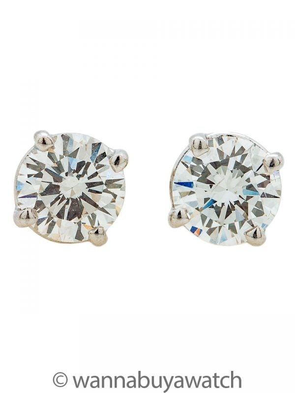 Round Brilliant Cut Diamond Stud Earrings 14K WG 1.53ctw F-G/SI
