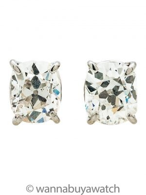 Diamond Platinum Cushion Cut Stud Earrings 1.87ct G-H/SI
