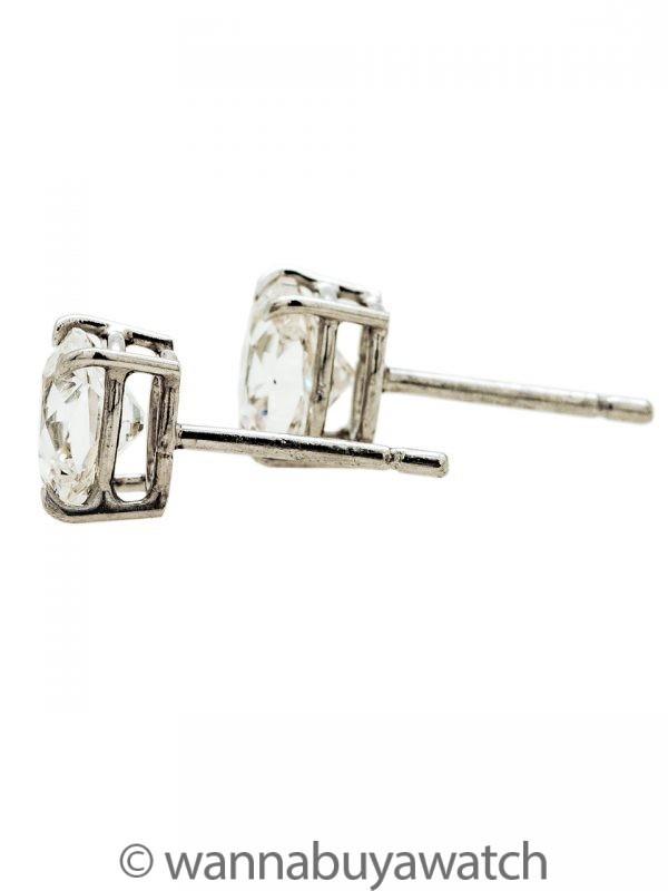Diamond Platinum Cushion Cut Stud Earrings 1.87ct G-H/SI