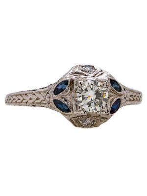 Vintage Diamond & Sapphire 18k WG Engagement Ring 0.40ct RBC J-I1 circa 1930s