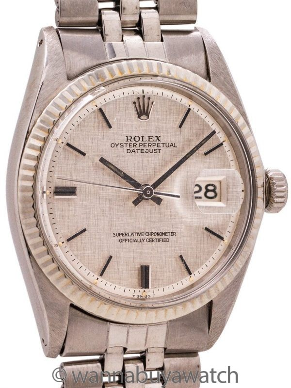 Rolex Datejust ref 1601 SS/14K WG Linen Dial circa 1967