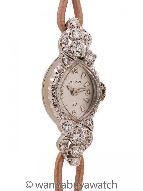 Bulova 14K WG Diamond Set Cocktail Watch circa 1950's