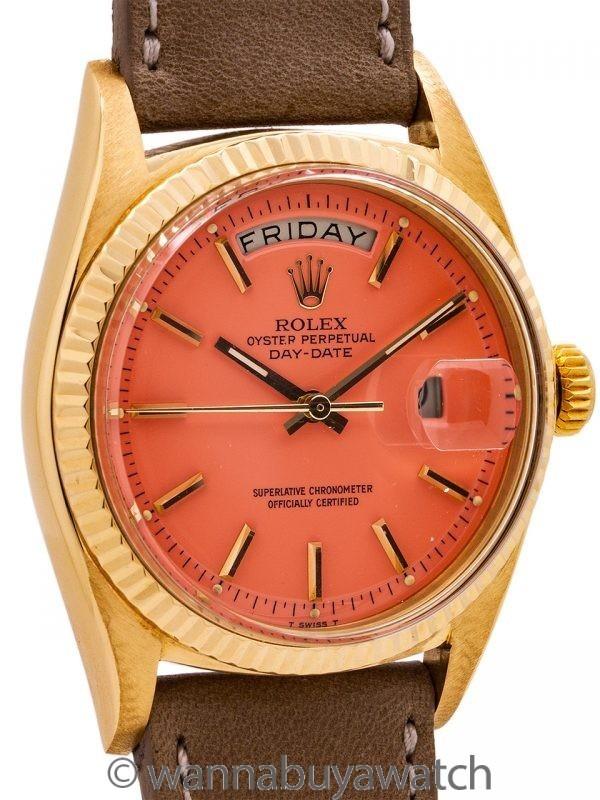 """Rolex President ref 18238 18K YG Coral """"Stella Dial"""" circa 1961"""