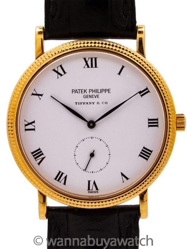 Patek Philippe ref 3919J Calatrava 18K YG Tiffany & Co circa 1990