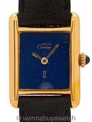 Cartier Tank Louis Vermeil Lapis Dial circa 1970s