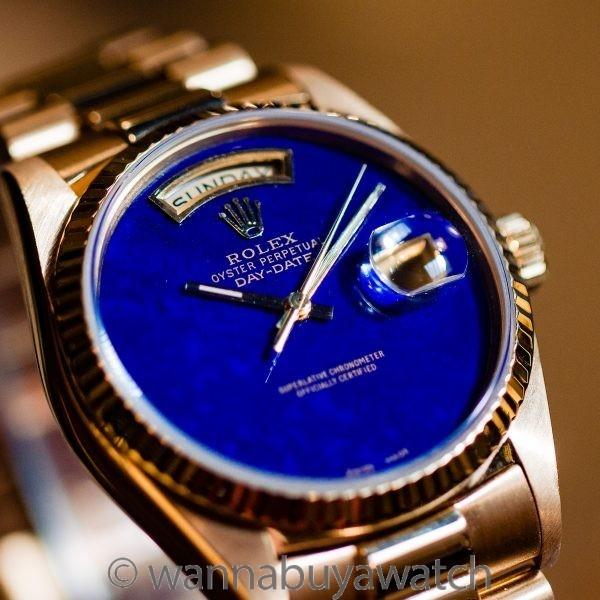 Rolex Day Date President 18K YG ref 18038 circa 1986 Custom Lapis Dial