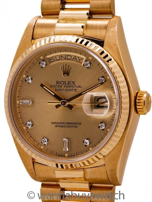 Rolex ref 18038 Day Date President 18K YG Diamond Dial circa 1979 Mint with Papers