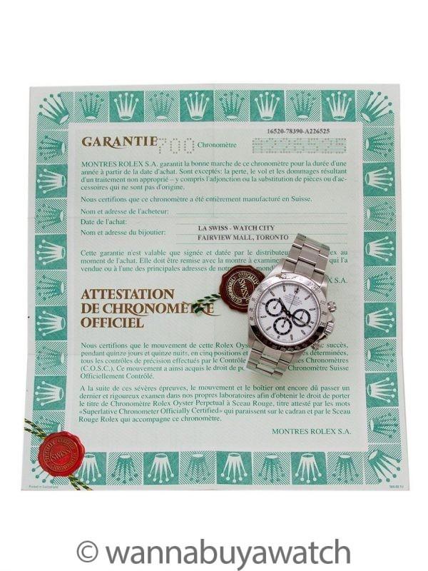 """Rolex """"Luminova Zenith"""" Daytona ref 16520 circa 1999 Box & Papers"""