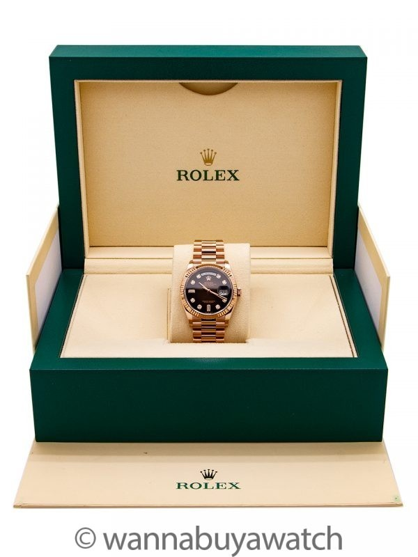 Rolex 18K PG Day Date ref 128235 Ombre Dial circa 2019 Box & Papers