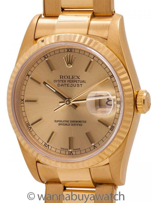 Rolex 18K YG Datejust ref 16238 circa 1995