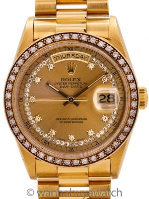 Rolex Day Date President ref 18348 18K YG Diamond Bezel & String Dial circa 1985 w/ Papers