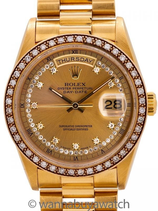 Rolex Day Date President ref 18348 18K YG Diamond Bezel & String Dial circa 1988 w/ Papers