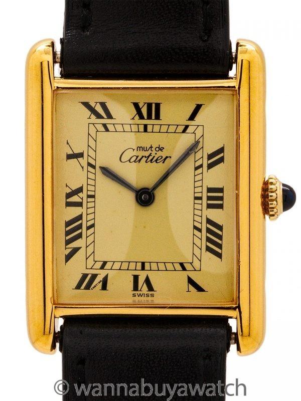 Must de Cartier Tank Louis Man's Vermeil circa 1980's
