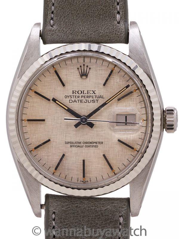 Rolex Datejust SS/18K WG ref 16014 Linen Dial circa 1978