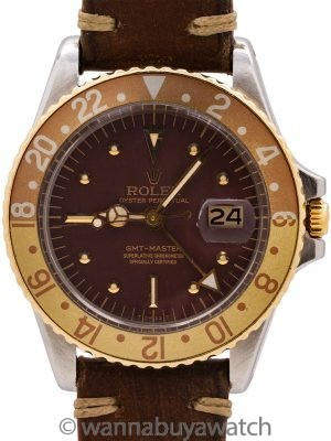 "Rolex GMT ref 1675 SS/14K  ""Chocolate"" circa 1972"