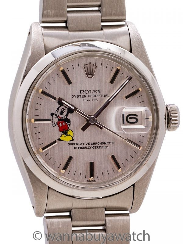 Rolex Oyster Perpetual Date ref 1500 Mickey Logo circa 1974
