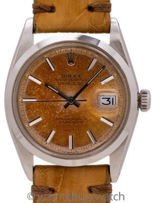 Rolex Datejust ref 1600 Smooth Bezel Tropical Dial circa 1966