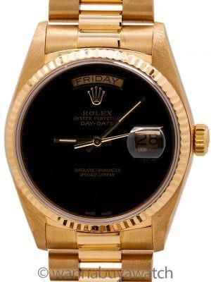 Rolex Day Date President 18K YG ref 18038 Custom Onyx Dial circa 1986