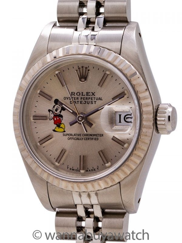 Lady Rolex Datejust ref 69174 Mickey Mouse circa 1987 with Papers