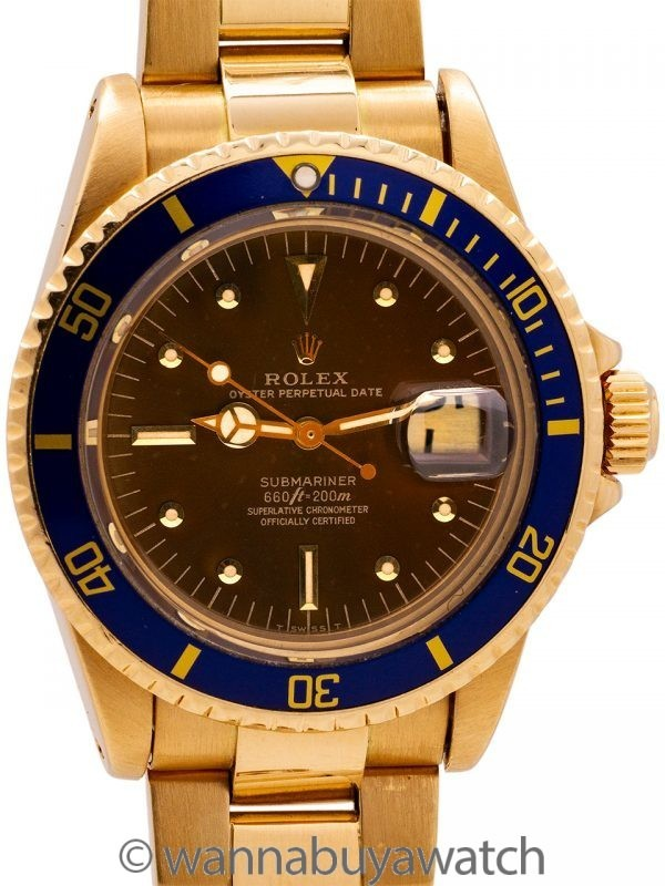 Rolex Submariner ref 1680 18K YG Tropical circa 1977