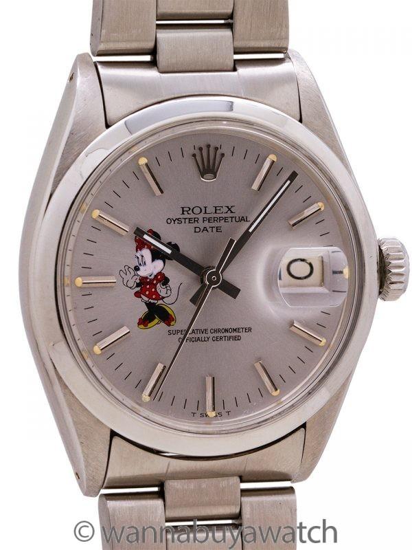 Rolex Oyster Perpetual Date ref# 1500 Minnie Mouse circa 1967