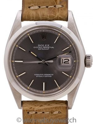 Rolex Datejust ref 1600 Smooth Bezel Gray Dial circa 1969