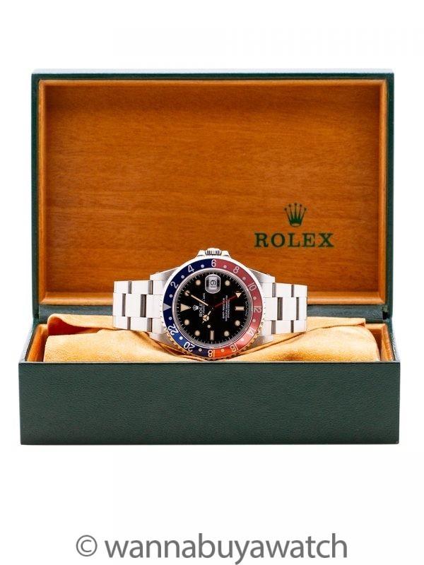 Rolex GMT Master ref 16700 Pepsi Patina'd Tritium circa 1991 w/ Box