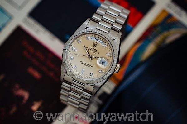 Rolex Day Date President ref# 18239 18K WG Factory Diamond Dial circa 1991
