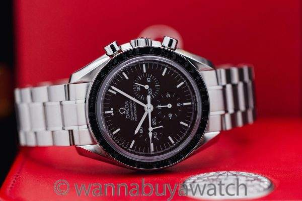 """Omega Speedmaster Man on the Moon """"Chocolate"""" Display Back - Box and Papers"""