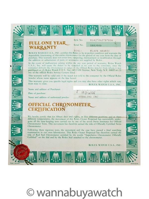 Rolex Explorer 1 ref 14270 Tritium circa 1994 Box & Papers