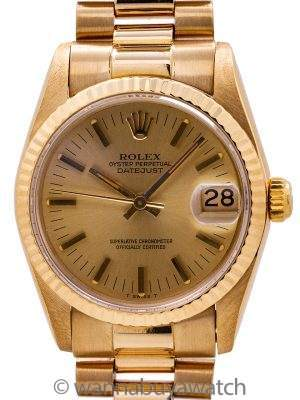Rolex 18K YG Midsize President circa 1984 Papers