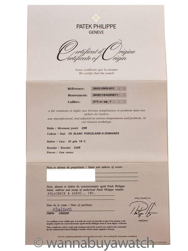 Patek Philippe Calatrava ref 3802G Automatic 18K WG circa 2005 Box & Papers