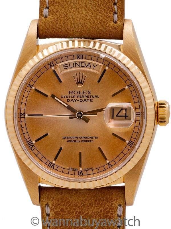 """Rolex Day Date 18K YG ref 18038 """"Tropical"""" circa 1985"""